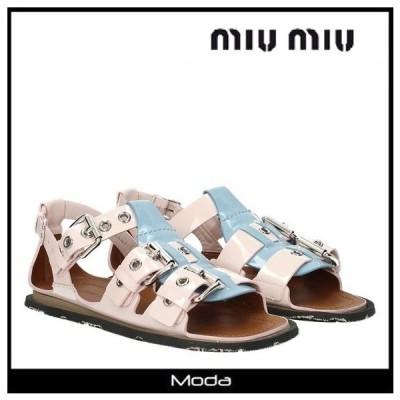 ミュウミュウ サンダル レディース MIUMIU 靴 MIU MIU ピンク フラット