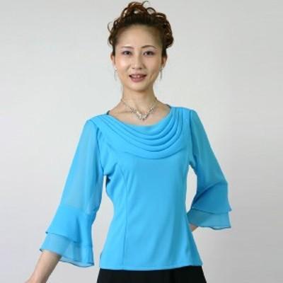 コーラスブラウス コーラス衣装 合唱衣装(9号~15号)水色 シフォンドレープブラウス