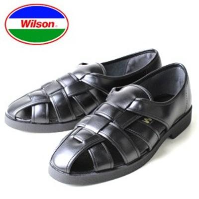 メンズ カメサンダル ドライビングシューズ オフィスサンダル Wilson ウィルソン 3600 ブラック 通気性 クールビズ
