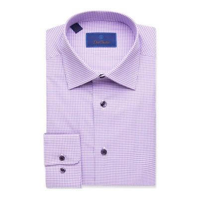 デイビッドドナヒュー メンズ シャツ トップス Men's Regular-Fit Cotton Dress Shirt