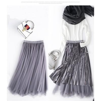 韓国 ファッション 流行アイテム カジュアル ベルベット イレギュラー スカート プリーツスカート