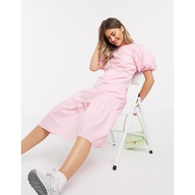 インフルエンス レディース ワンピース トップス Influence cotton poplin tiered hem midi dress in pink