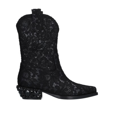 ドルチェ & ガッバーナ DOLCE & GABBANA ショートブーツ ブラック 36 紡績繊維 / 革 ショートブーツ