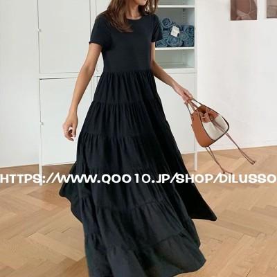 E783  無地 ロング マキシ丈/ワンピース ドレス 韓国ファッション ロング 大きいサイズ 無地 おしゃれ 可愛い