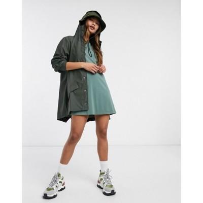 レインズ レディース ジャケット・ブルゾン アウター Rains short waterproof jacket in green