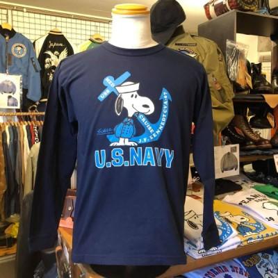 "BUZZ RICKSON'S バズリクソンズ PEANUTS スヌーピー 長袖Tシャツ SNOOPY""US NAVY"" BR68621-128/NAVY ロンT"