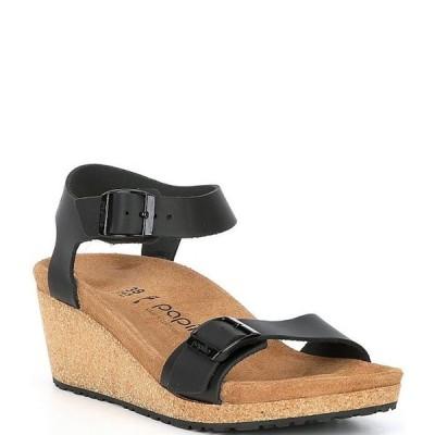 ビルケンシュトック レディース サンダル シューズ Papillio by Birkenstock Soley Leather & Cork Ankle Strap Wedges