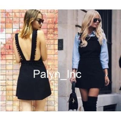 Rare  ファッション ドレス Rare _NWT ZARA AW16 BLACK SHORT PINAFORE DRESS W/ TASSELS POMPOM MINI 7806/819