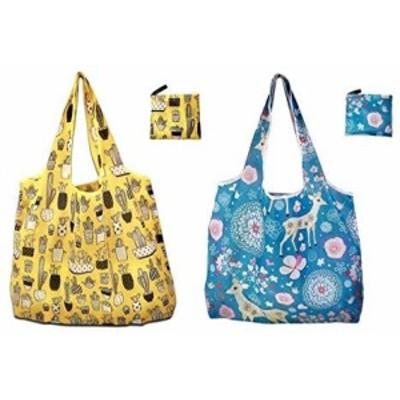 エコバッグ 折りたたみ 2個セット レジ袋 買い物袋 コンビニバッグ 防水素材 収納袋付き 小さめ 軽量 ポケットに入る 繰り返し使用