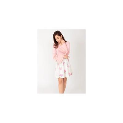 CECIL McBEE フレアスリーブリブトップス ピンク