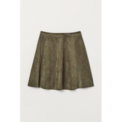 H&M - フェイクスエードスカート - グリーン