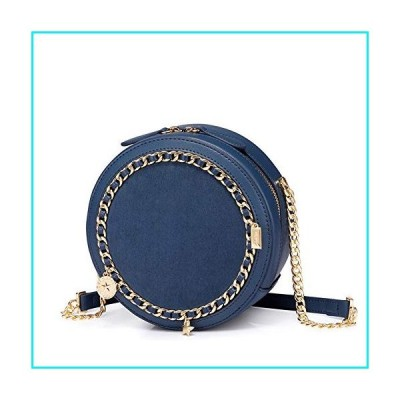 SNUA Round Ladies Shoulder Bag, Chain Bag, Crossbody Bag, Small Fragrance Fashion Ladies Backpack, Suitable for Dating Party Shopping-Blue【並行輸