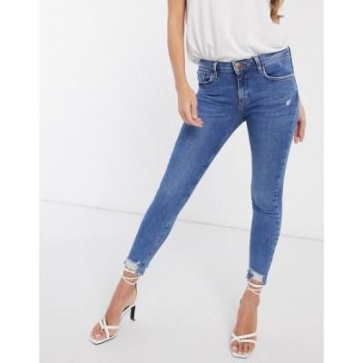 リバーアイランド River Island レディース ジーンズ・デニム ボトムス・パンツ Amelie raw hem skinny jeans in mid wash ブルー