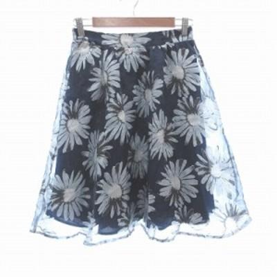 【中古】アントマリーズ Aunt Marie's フレアスカート ひざ丈 花柄 シフォン M 紺 ネイビー グレー /CT レディース