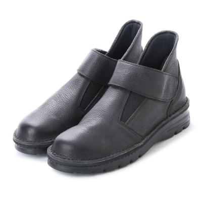 ジェイエスハートレーベル JS HEART LAVEL 幅広・軽量ナチュラルレザーショートブーツ (ブラック)