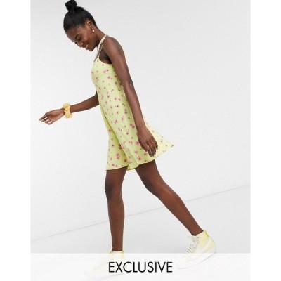 コリュージョン レディース ワンピース トップス COLLUSION floral printed mini slip dress in yellow Yellow floral