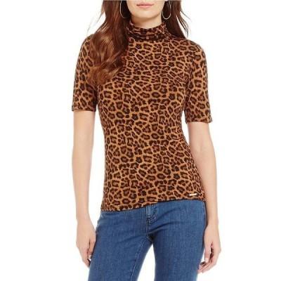 マイケルコース レディース Tシャツ トップス MICHAEL Michael Kors Leopard Print Knit Jersey Short Sleeve Turtleneck Top Caramel