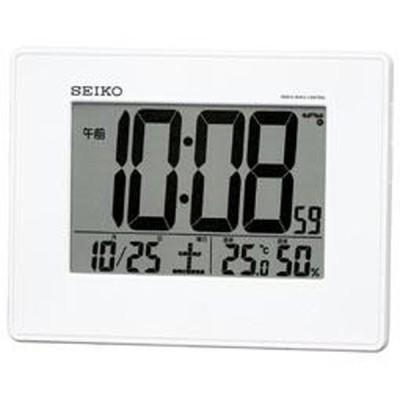 SEIKO セイコー 目覚まし時計 電波 デジタル 掛置兼用 カレンダー・温度・湿度表示 大型画面 白パール SQ770W【お取り寄せ】