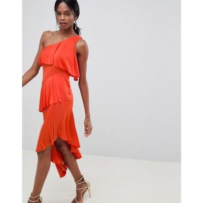 エイソス ASOS DESIGN レディース ワンピース ワンピース・ドレス one shoulder drapey tiered midi dress Burnt orange
