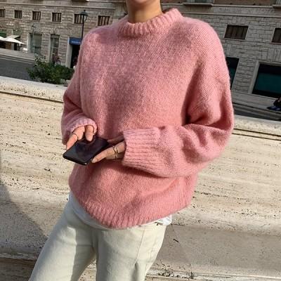 【韓国ファッションNo.1 NANING9】✨ケミフウルラウンドニット✨大人のトレンドコーデ[送料無料]着やせ効果抜群😊大人可愛いナチュラル服♪着回しコーデ!最新トレンド勢揃い💖