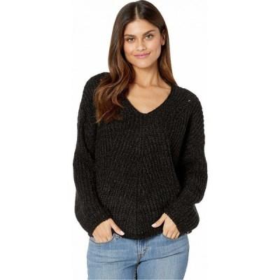 リップカール Rip Curl レディース ニット・セーター Vネック トップス Woven V-Neck Sweater Black Heather