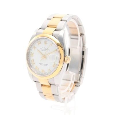 ロレックス ROLEX デイトジャスト メンズ 腕時計 自動巻き SS K18YG シルバー ゴールド ホワイト文字盤 ローマンインデックス Z番 116203 メンズ 中古