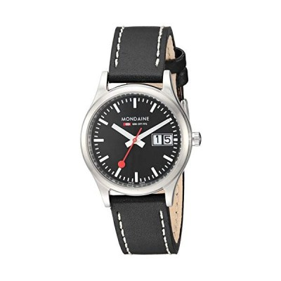 Mondaine SBB Outdoor Wrist Watch for Women (A669.30311.14SBB) Swiss Made, Black Leather Strap, Silver Stainless Steel Case and Black Face 並行輸入