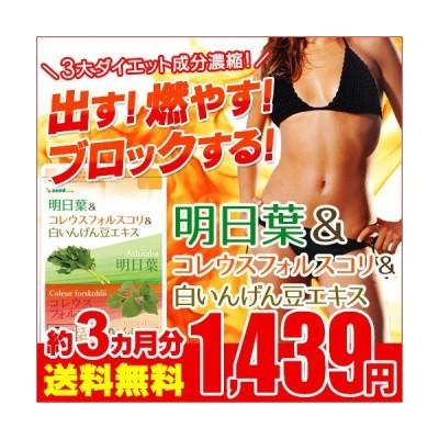 サプリ サプリメント 明日葉 アフリカマンゴノキエキス 白いんげん豆 約3ヵ月分 ダイエット