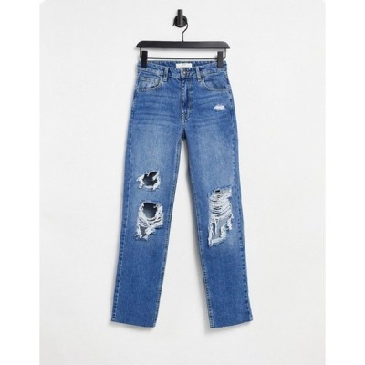 ストラディバリウス レディース デニムパンツ ボトムス Stradivarius straight leg ripped jeans in medium blue