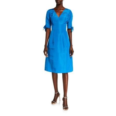 キャロライナヘレラ レディース ワンピース トップス 1/2-Sleeve Silk Faille Dress