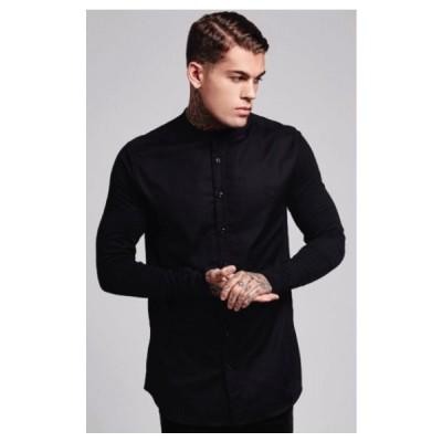 SikSilk シックシルク 長袖シャツ ボタンシャツ メンズシャツ ノーカラーシャツ トップス 襟なしシャツ 無地シャツ おしゃれシャツ 黒シャツ