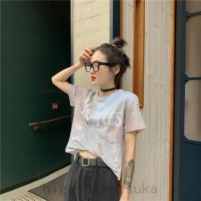 レディース半袖TシャツビートルズTプリントTシャツ