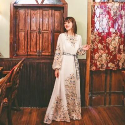 ロングワンピース プリントワンピース  レディース エスニック パフスリーブ リゾートワンピ 姫系ドレス ファッション エレガント お出か