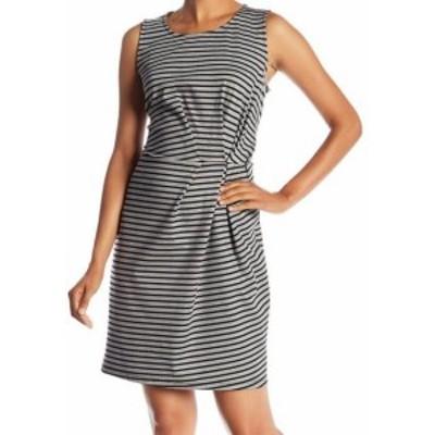 Pleione プレイオネ ファッション ドレス Pleione NEW Gray Striped Pleated Pintuck Womens Size XL Sheath Dress