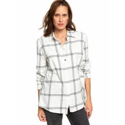 レディース 衣類 トップス Roxy Womens Young Again Long Sleeve Button Shirt - Snow White Plaid ブラウス&シャツ