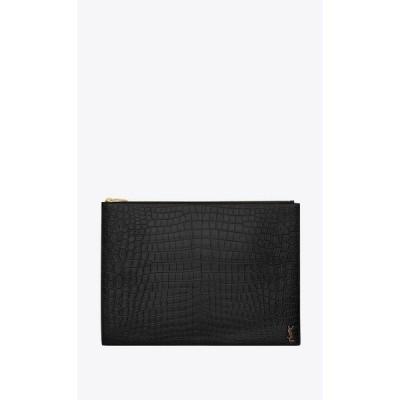 サンローラン SAINT LAURENT バッグ バック クラッチバッグ ブラック ブロンズ カーフ クロコダイル エンボスレザー