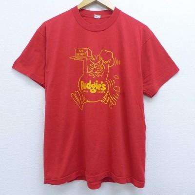 L/古着 半袖 ビンテージ Tシャツ 80s デリバリーチキン クルーネック 赤 レッド 20jun03 中古 メンズ