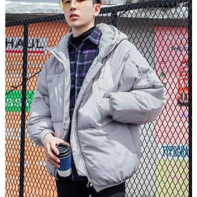 メンズダウンジャケットアウター男中綿ダウンジャケットショート丈ゆったり中綿コートカジュアルフード付きかっこいいコート防寒秋冬