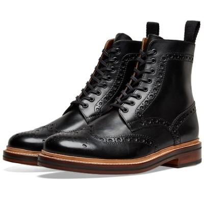 グレンソン Grenson メンズ ブーツ メダリオン シューズ・靴 Fred Brogue Boot Black Calf