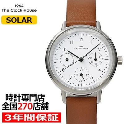 ザ・クロックハウス LNC1002-WH2B ナチュラルカジュアル 腕時計 レディース ソーラー 茶革ベルト ホワイト 雑誌掲載 着用モデル