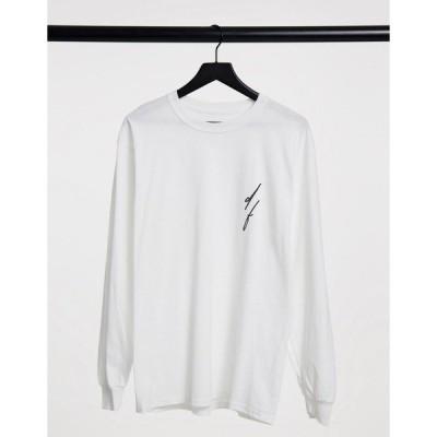 エイソス メンズ Tシャツ トップス ASOS Dark Future long sleeve t-shirt in white with logo chest print White