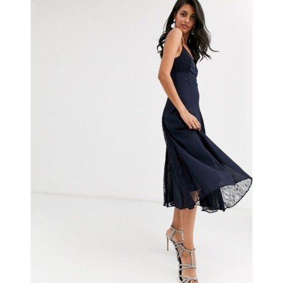 エイソス レディース ワンピース トップス ASOS DESIGN cami midi dress with lace insert godets Navy