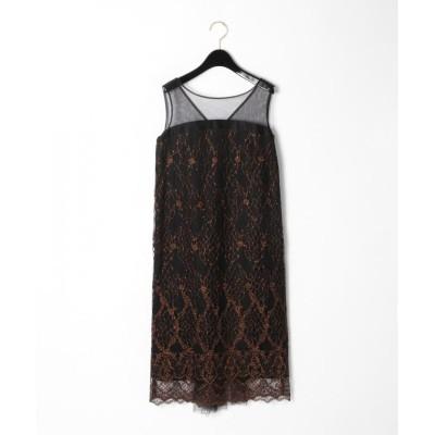 GRACE CONTINENTAL バックチュールレースドレス ブラック 36