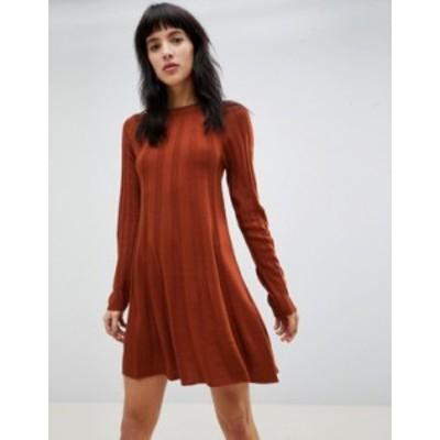 エイソス レディース ワンピース トップス ASOS DESIGN rib swing dress in knit Rust
