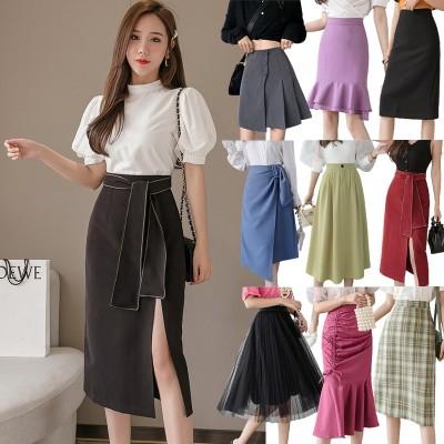 (3枚購入+1枚おまけ5枚+2枚数量限定)韓国 ファッション レディース 春夏 スカート 大集合 /デニムスカート/ロングスカート/ミニスカート/タイトスカート ハイウエスト 美脚 大きいサイズ