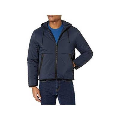 Perry Ellis Men's Motion Tech Filled Hooded Jacket, Dark Sapphire, Medium