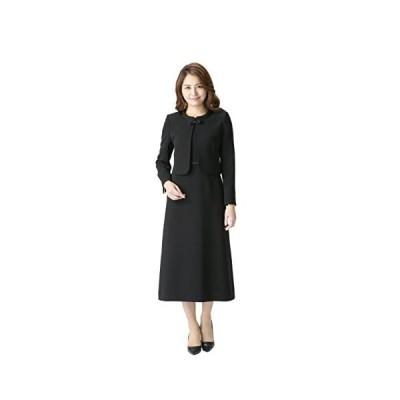 (マーガレット)marguerite m456 ブラックフォーマル 喪服 礼服 レディース アンサンブル ロング丈 (ブラック 15 号)