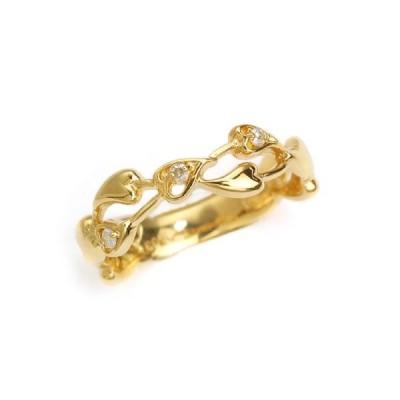 【8/1日スタート買いだおれポイントUP】K18 ダイヤモンド計0.03ct イエローゴールド ピンキーリング