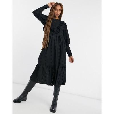 エイソス ミディドレス レディース ASOS DESIGN broderie midi smock dress with frill detail in black エイソス ASOS ブラック 黒