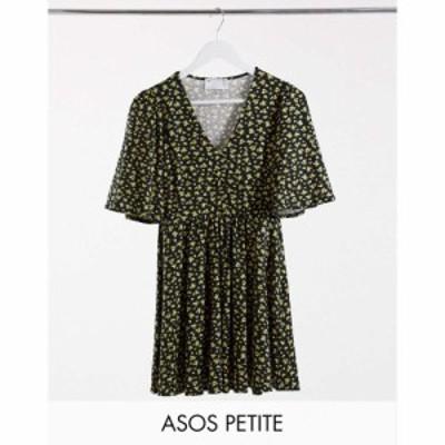 エイソス ASOS Petite レディース ワンピース ワンピース・ドレス Asos Design Petite Mini Swing Dress In Black And Yellow Floral Pri